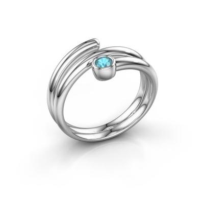 Ring Jenna 950 platina blauw topaas 3 mm