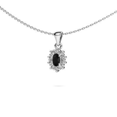 Foto van Ketting Leesa 950 platina zwarte diamant 0.80 crt