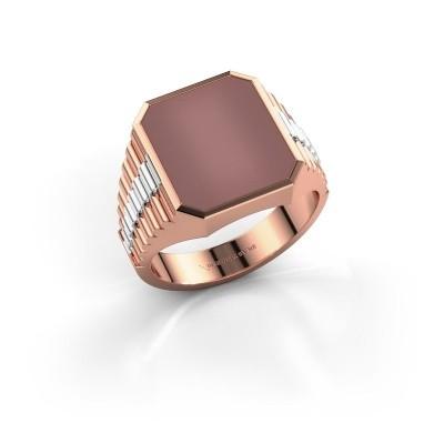 Foto van Rolex stijl ring Brent 3 585 rosé goud carneool 14x12 mm
