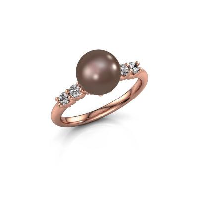 Foto van Ring Cecile 375 rosé goud bruine parel 8 mm