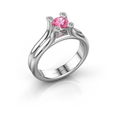 Foto van Belofte ring Stefanie 1 375 witgoud roze saffier 5 mm