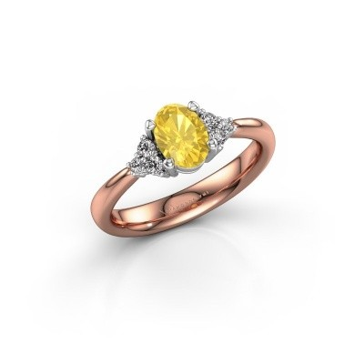 Picture of Engagement ring Aleida OVL 1 585 rose gold yellow sapphire 7x5 mm