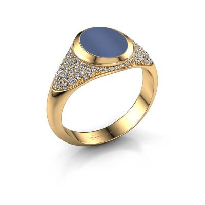 Foto van Zegelring Susana 585 goud blauw lagensteen 10x8 mm