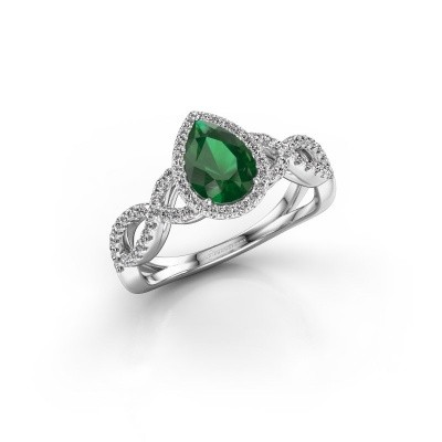Verlovingsring Dionne pear 585 witgoud smaragd 7x5 mm