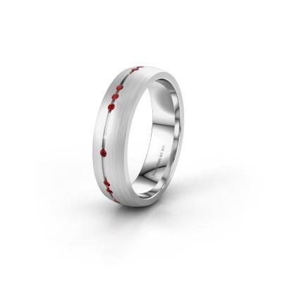 Wedding ring WH0166L25A 950 platinum ruby ±5x1.7 mm