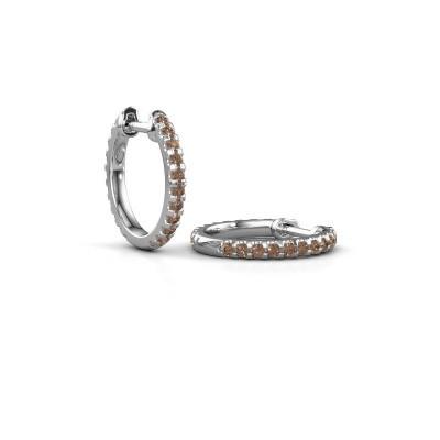 Foto van Creolen Jackie 12.5 mm A 585 witgoud bruine diamant 0.63 crt