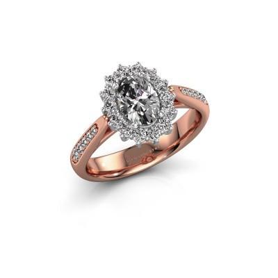 Verlovingsring Margien 2 585 rosé goud zirkonia 7x5 mm