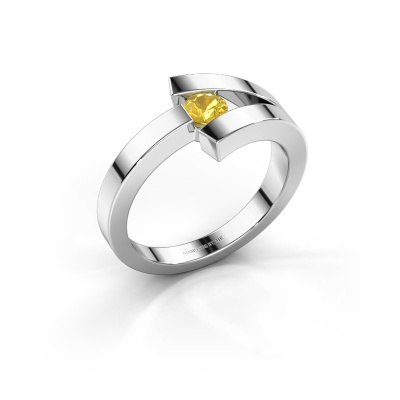 Ring Sofia 925 silver yellow sapphire 3.7 mm