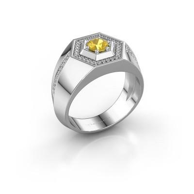 Men's ring Sjoerd 950 platinum yellow sapphire 4.7 mm