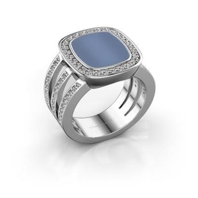 Foto van Zegelring Tijn 925 zilver licht blauwe lagensteen 13x11 mm