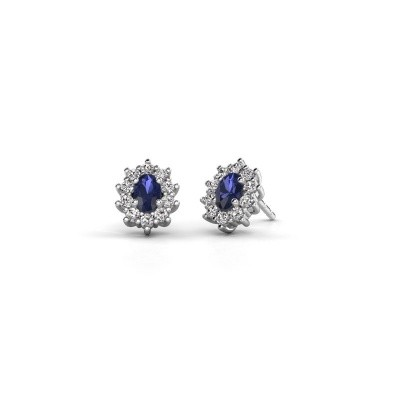 Picture of Earrings Leesa 950 platinum sapphire 6x4 mm
