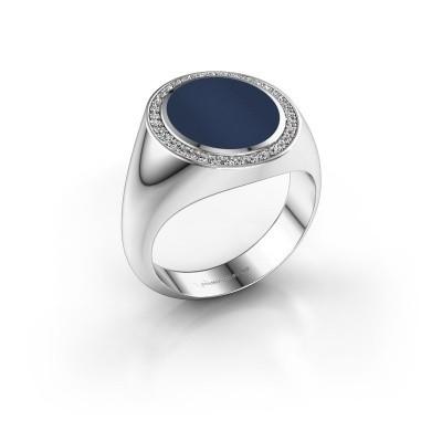 Foto van Zegel ring Adam 3 375 witgoud donker blauw lagensteen 13x11 mm