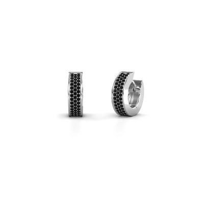 Foto van Creolen Renee 3 9 mm 950 platina zwarte diamant 0.84 crt