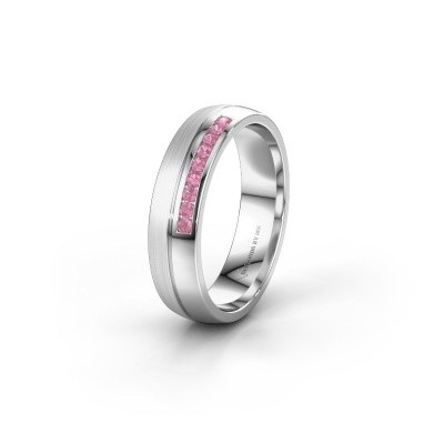 Wedding ring WH0209L25APM 950 platinum pink sapphire ±0.20x0.07 in
