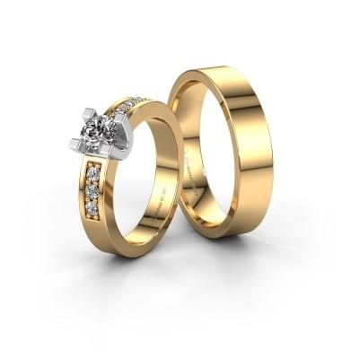 Foto van Trouwringen set WHE3472LM15AP ±4x1.7 mm 14 karaat goud diamant 0.20 crt