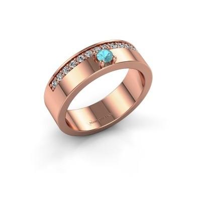 Ring Vicki 375 rosé goud blauw topaas 3 mm