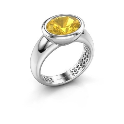 Bague Evelyne 585 or blanc saphir jaune 10x8 mm
