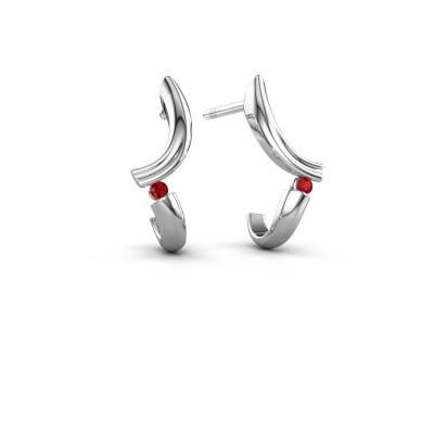 Earrings Tish 585 white gold ruby 1.5 mm
