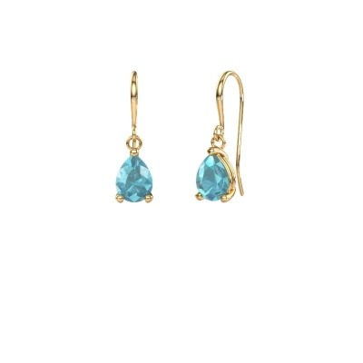 Photo de Pendants d'oreilles Laurie 1 585 or jaune topaze bleue 8x6 mm
