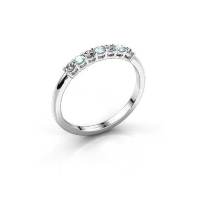 Foto van Verlovings ring Michelle 7 950 platina aquamarijn 2 mm