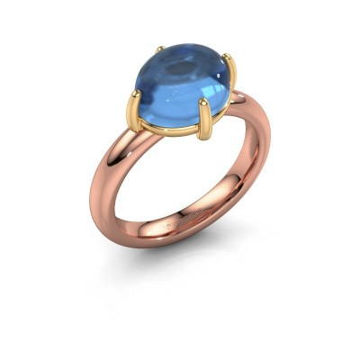 Ring Melodee 585 rose gold blue topaz 10x8 mm