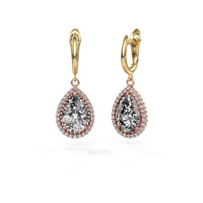 Drop earrings Hana 1 585 rose gold diamond 6.42 crt