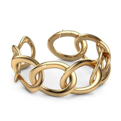 Platte schakel armband Rose 30mm 585 goud