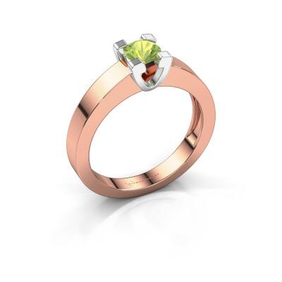 Promise ring Anne 1 585 rosé goud peridoot 4.7 mm