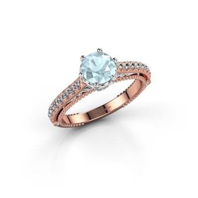Engagement ring Venita 585 rose gold aquamarine 6.5 mm