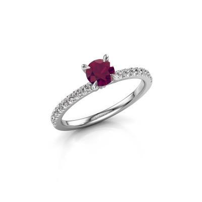 Verlovingsring Crystal rnd 2 950 platina rhodoliet 5 mm