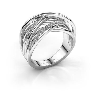 Foto van Ring Fem 2 585 witgoud zirkonia 1.5 mm