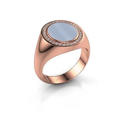 Foto van Zegelring Hilda 2 375 rosé goud licht blauwe lagensteen 12x10 mm