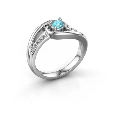 Ring Aylin 585 witgoud blauw topaas 4 mm