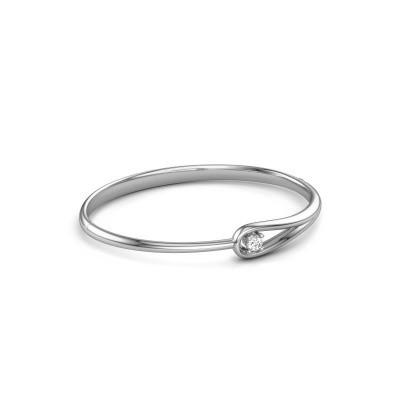 Photo de Bracelet jonc Zara 585 or blanc diamant 0.25 crt