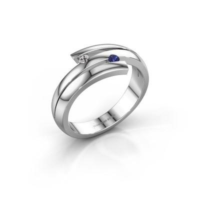Ring Dena 585 witgoud saffier 2 mm
