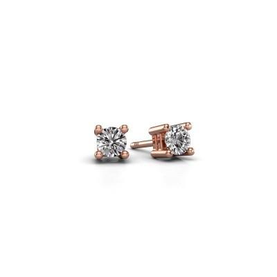 Clous d'oreilles Eline 375 or rose zircone 4 mm