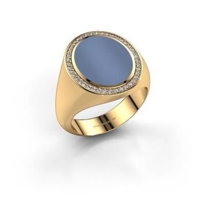 Foto van Zegelring Adam 4 375 goud licht blauwe lagensteen 15x12 mm