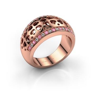 Ring Tirza 375 rosé goud roze saffier 1.3 mm