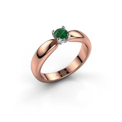 Promise ring Katrijn 585 rose gold emerald 4.2 mm
