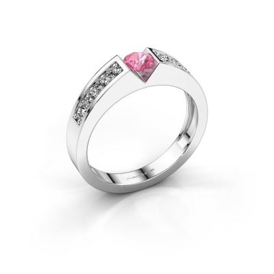 Engagement ring Lizzy 2 585 white gold pink sapphire 4.2 mm