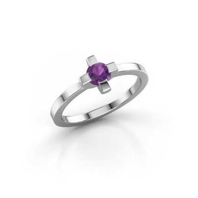 Ring Therese 585 witgoud amethist 4.2 mm
