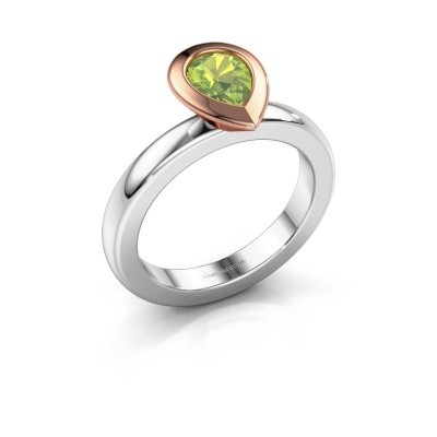 Stapelring Trudy Pear 585 witgoud peridoot 7x5 mm