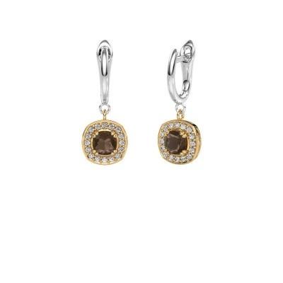 Drop earrings Marlotte 1 585 gold smokey quartz 5 mm