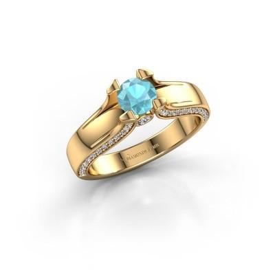 Bague de fiançailles Jeanne 1 375 or jaune topaze bleue 5 mm