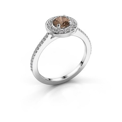 Foto van Ring Agaat 2 585 witgoud bruine diamant 0.78 crt