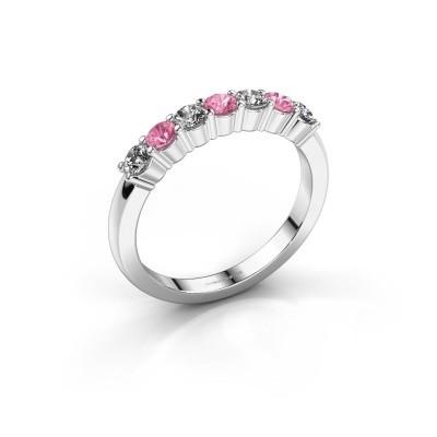 Foto van Verlovingsring Yasmin 7 585 witgoud roze saffier 2.7 mm