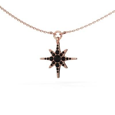 Halsketting Star 375 rosé goud zwarte diamant 0.348 crt