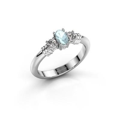 Foto van Promise ring Pippa 585 witgoud aquamarijn 5x4 mm