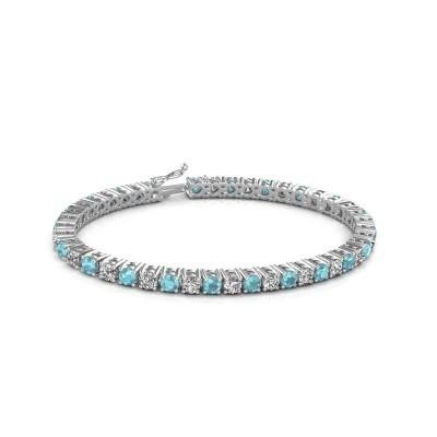 Tennis bracelet Karin 375 white gold blue topaz 4 mm