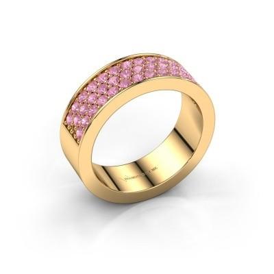 Ring Lindsey 6 375 goud roze saffier 1.7 mm